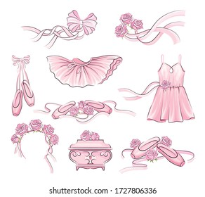 Ballet Accessories with Tutu Skirt and Pair of Pointe-shoes Vector Set