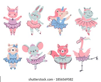 Ballet animals. Bunny, fox and unicorn ballerina in scandinavian style. Pig, bear, hippo and flamingo dance in tutu. Girl fashion vector set. Ballerina animal in dress, cute bunny dancer illustration