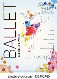 Ballet background. Flyer, brochure, invitation, ticket, poster or greeting card design template with beautiful ballet dancer figure. Vector illustration.
