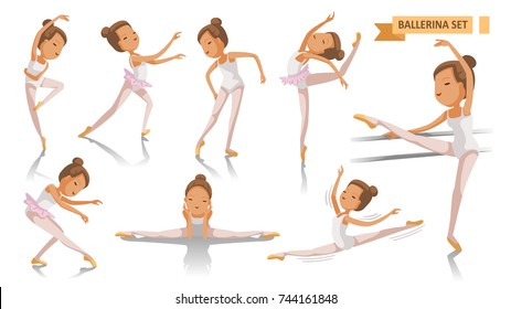 Ballet of Ballerina. beautiful ballerina is posing  dancing many port. beauty of a classical ballet art. Young Girl  Full Body cartoon set. Isolated on white background. vector illustration