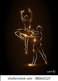Ballet. Ballerina and male dancer holds his partner's waist during a jump, perform pas. Abstract silhouette dancers with golden outline on a brown background. Partner ballerina lifted up in his arms.