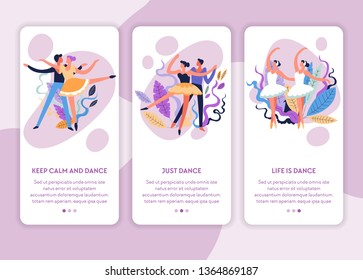 Ballet and ballroom dancing or latina program dance classes online web page template vector girl and guy partners moves and poses ballerinas in tutu man and woman movement sport and hobby online site.