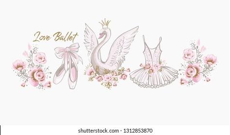 Ballet cute t-shirt design. Princess swan, I love ballet slogan, dress, tutu skirt, pointe shoes, ballerina flowers. Watercolor vector sketch. Vintage illustration white background. Baby girl fashion