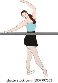 Ballet dancer doing barre exercises