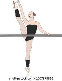 Ballet dancer doing grand battement