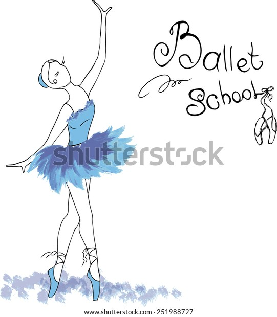 Ballet Dancer Drawing Watercolor Style Vector Stock Vector Royalty Free 251988727