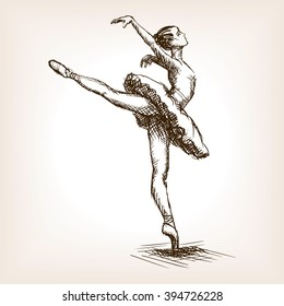 Ballet dancer girl sketch style vector illustration. Old hand drawn engraving imitation.