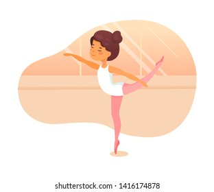 Ballet dancer lesson flat vector illustration. Little ballerinas practicing dance movements cartoon characters. Cute girls in dancehall learning classical ballet steps. Art studio choreography lesson
