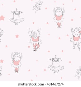 ballet dancer /seamless pattern with  ballerinas /can be used for kid's or baby's shirt design/fashion print design/fashion graphic/t-shirt/kids wear