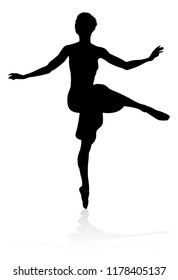 Ballet dancer silhouette dancing in a pose or position