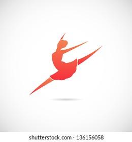 Ballet dancer symbol icon or Logo Template