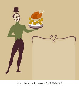 ballet dancer waiter with food plate art deco style retro illustration with text frame