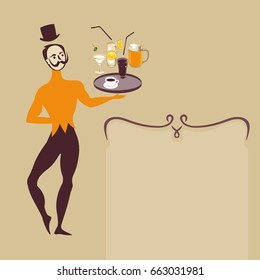 ballet dancer waiter with various drinks like coffee beer cocktail and refreshments art deco retro style illustration with text frame