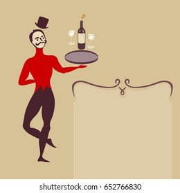 ballet dancer waiter with wine bottle and glasses art deco retro style illustration with place for text