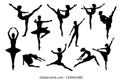 Ballet dancer woman in silhouette dancing in various poses and positions