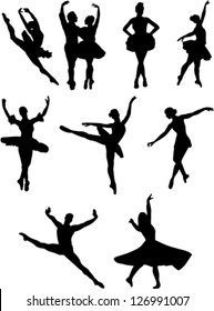 ballet dancers collection vector