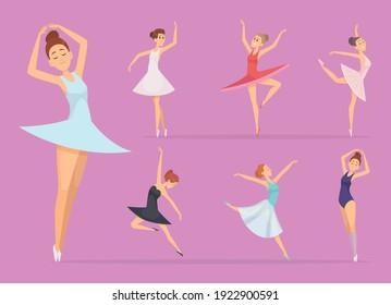 Ballet. Dancers girl ballerina woman happy beautiful girl in action poses vector illustrations