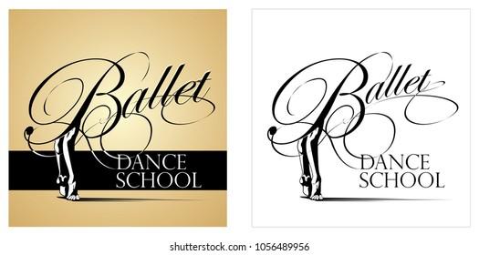 Ballet and dancing school emblem design. Vector