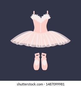 Ballet dress and pointe shoes on a dark background. Vector illustration.