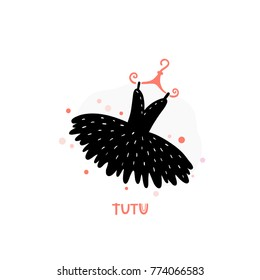 Ballet dress, tutu icon isolated on background. Modern hand drawn vector illustration. Design Element for logo, emblem, sticker, badge.