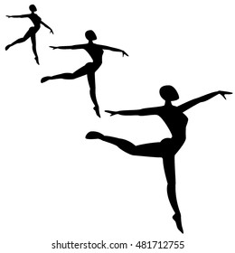 Ballet female dancers vector silhouettes on white background.