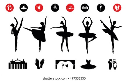 Ballet icon set with ballet shoes, ballet tutu, ballerina, theater, applause. Vector ballerina isolated.