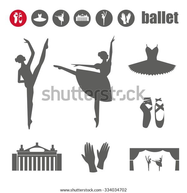 Ballet Icon Set Ballet Shoes Ballet Stock Vector (Royalty