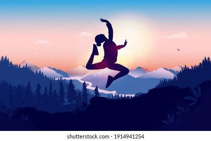 Ballet jump in nature landscape - Silhouette of woman jumping elegantly in front of sun. Vector illustration.