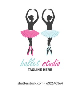 ballet logo for ballet school, dance studio. vector illustration