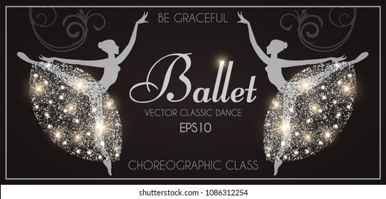 Ballet School Flyer Template. Ballerina Silhouette with Glittering Elegant Tutu. Theatre Ticket Design. Classic Dance Class. Black and Shining Silver Design with Flourish Swirls.Vector illustration