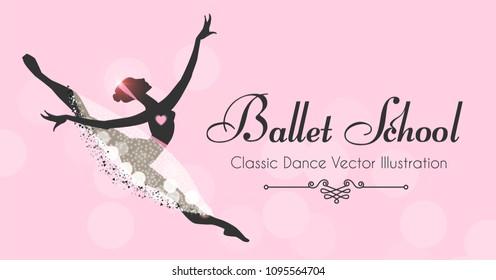 ballet school flyer template ballerina silhouette stock vector