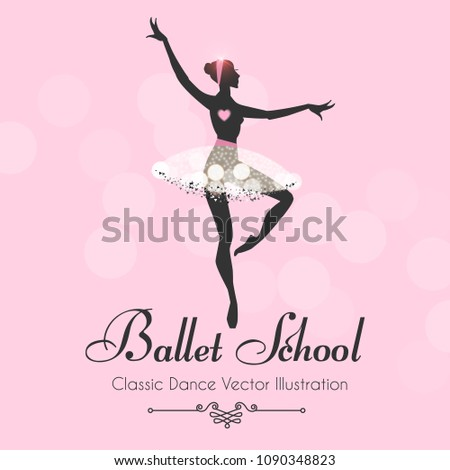 ballet school flyer template ballerina silhouette stock vector