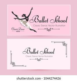 ballet school flyer template elegant cards stock vector royalty