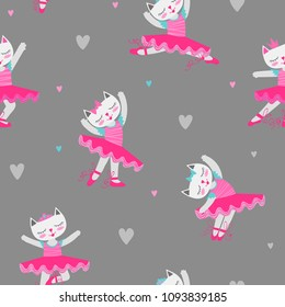Ballet seamless pattern with kitten cartoon character wearing ballet dress, fluffy skirt, now and crown on had, pointe shoes. Colorful hearts on grey background and dancing cat. girl repeated backdrop