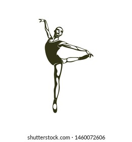 Ballet shilhouette ilustration with a simple and elegant shape