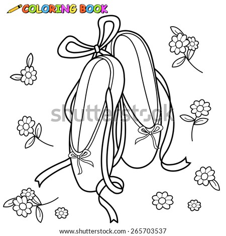 Ballet Shoes Coloring Book Page Stock Vector Royalty Free