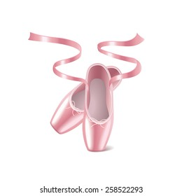 Ballet shoes isolated on white photo-realistic vector illustration