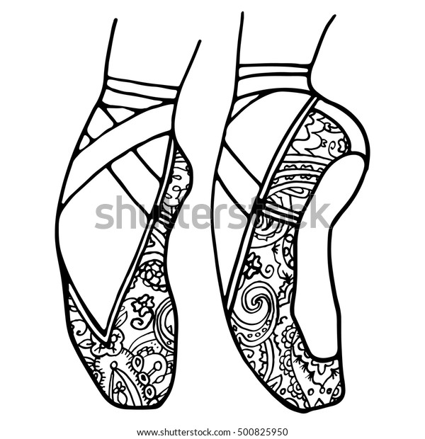 Ballet Shoes Pointe Adult Coloring Book Stock Vector ...
