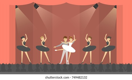 Ballet in theater. Dancers on scene with audience.