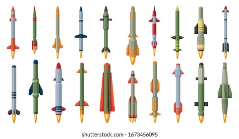 Ballistic missile vector cartoon set icon. Vector illustration military rocket on white background . Isolated cartoon set icon balistic missile.