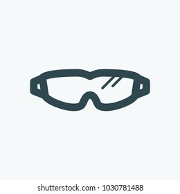 Ballistic protective tactical goggles and glasses vector icon