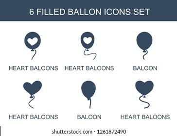 ballon icons. Trendy 6 ballon icons. Contain icons such as heart baloons, baloon. ballon icon for web and mobile.