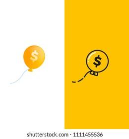 Ballon money logo. Gold ball in sky with dollar sign. Vector gradient cartoon illustration