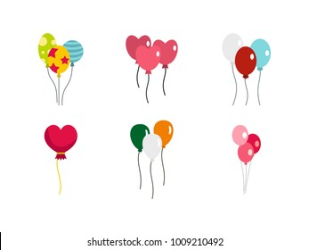 Ballons icon set. Flat set of ballons vector icons for web design isolated on white background