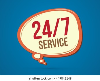 Balloon 24 hours a day and 7 days service sign graphic vector.