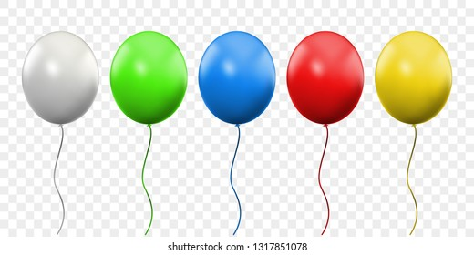 Balloon 3D vector realistic isolated on transparent background. Birthday party colorful ballons with threads and white celebration balloon with glossy reflection