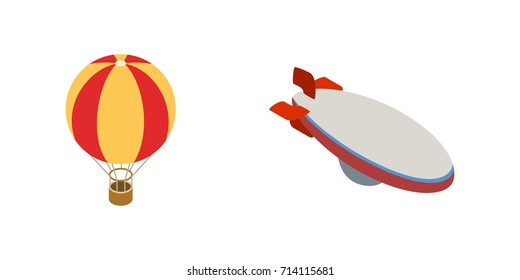Balloon aerostat transport vector set in isometric 3d style for any design. Aerostat vector icons illustration