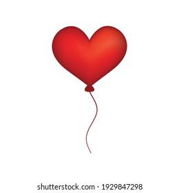 Balloon air heart. Vector illustration isolated on white background.