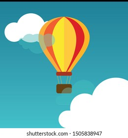 Balloon blue sky cloud adventure illustration travel