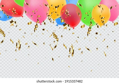 Balloon border with shiny gold glitter and star confetti isolated on transparent background.